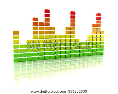 Abstract 3d illustration of music spectrum over white - stock photo