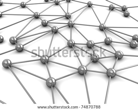 abstract 3d illustration of network or molecular structure over white background - stock photo