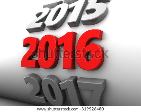 abstract 3d illustration of new year 2016 sign - stock photo