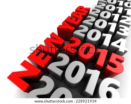 abstract 3d illustration of new year 2015 sign, over white background