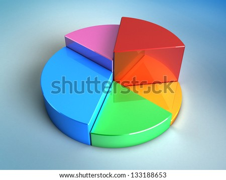 abstract 3d illustration of pie glossy chart over blue background