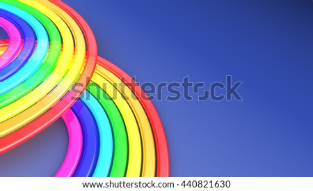 abstract 3d illustration of rainbow background with copyspace - stock photo