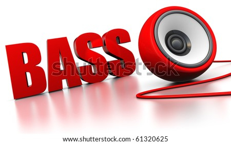 abstract 3d illustration of sign 'bass' with audio speaker over white background
