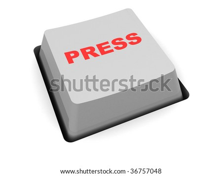 abstract 3d illustration of single computer key with 'press' caption
