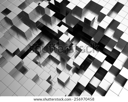 abstract 3d illustration of steel cubes background - stock photo