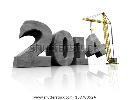abstract 3d illustration of text 2014 and crane, over white background