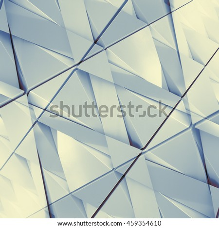 Abstract 3D illustration of triangles with double exposure effect - stock photo
