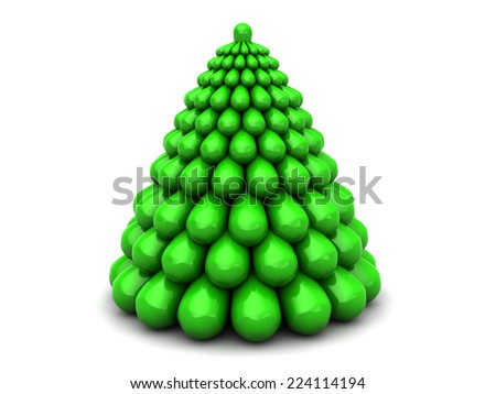 abstract 3d illustration of xmas tree, over white background