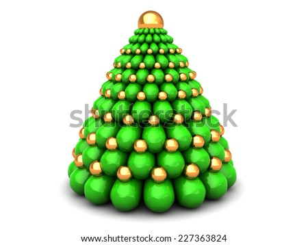abstract 3d illustration of xmas tree, over white background - stock photo