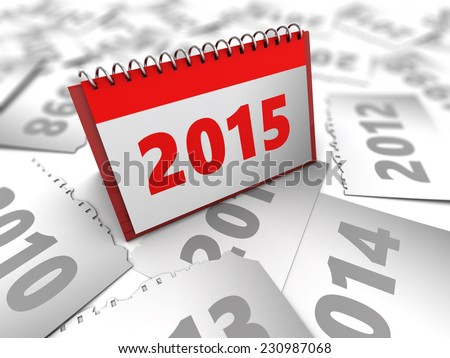 abstract 3d  illustration of years calendar with 2015 new year page - stock photo