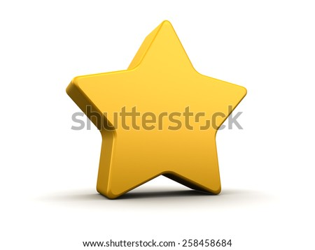 abstract 3d illustration of yellow star with rounded corners - stock photo