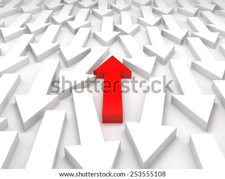 Abstract 3d illustration, one red arrow goes forward, opposite in white group - stock photo