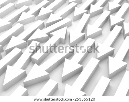 Abstract 3d illustration, one white arrow goes opposite in a group - stock photo