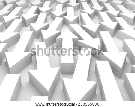 Abstract 3d illustration, one white arrow goes opposite in a large group - stock photo