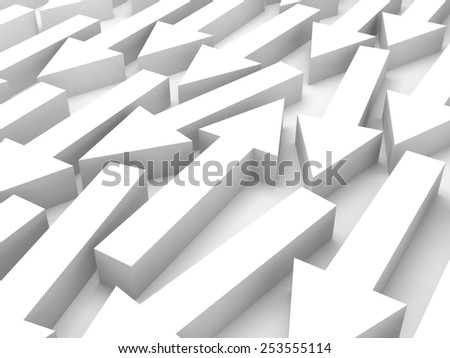Abstract 3d illustration, one white arrow is opposite in a large group - stock photo