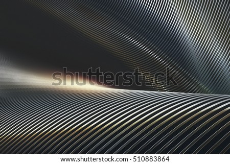 Abstract 3D illustration, twisted structure and folded into chrome and reflections.