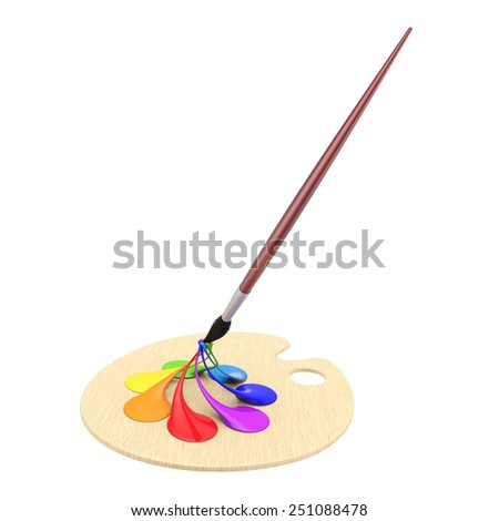 Abstract 3d illustration with palette and brush isolated on white background. - stock photo