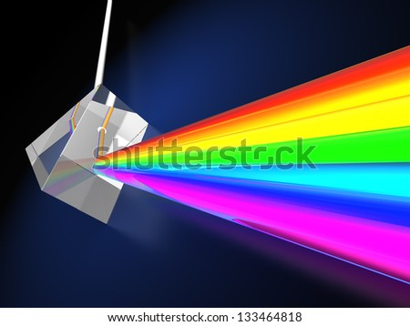 abstract 3d illustraton of blue background with prism dividing light ray - stock photo