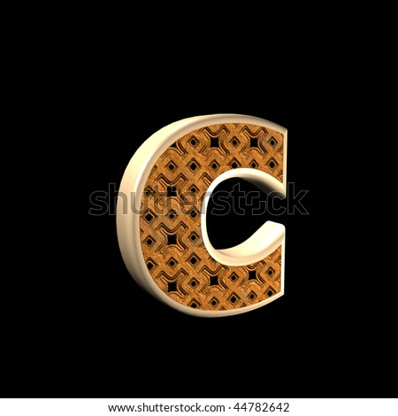abstract 3d letter with oriental pattern - C