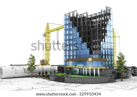 Abstract 3d of building development concept. Office building in process of construction. - stock photo
