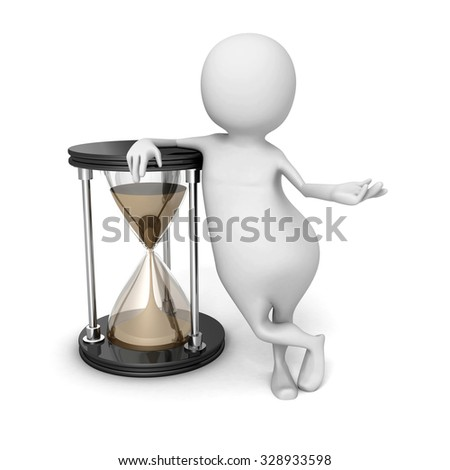 Abstract 3d Person With Sand Hourglass. 3d Render Illustration - stock photo