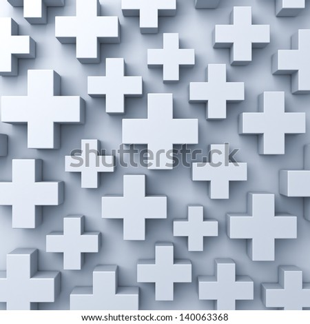 Abstract 3d plus signs background - stock photo