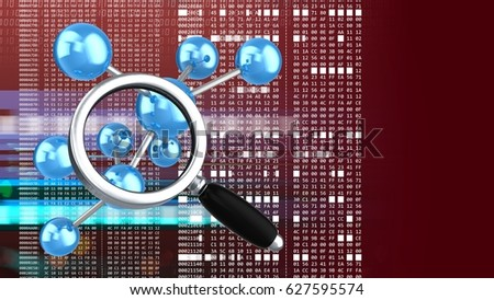 abstract 3d red background with molecule model magnify glass and hexadecimal code