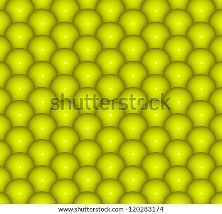 abstract 3d render backdrop of glossy yellow green balls