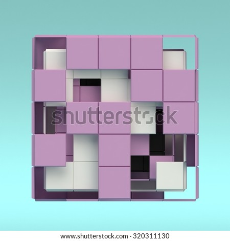 Abstract 3d render cube. Sci fi shape in empty space. Futuristic background.