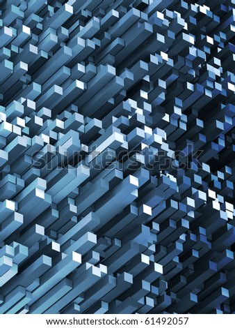 Abstract 3D Render of Blue Angled Rectangles