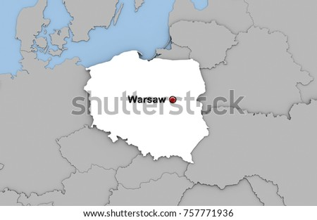 Abstract 3 D Render Map Poland Highlighted Stock Illustration ...