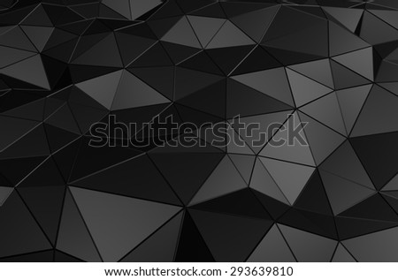 Abstract 3d rendering of black surface. Background with futuristic low poly shape. - stock photo