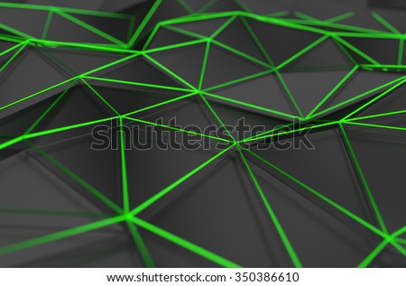 Abstract 3d rendering of black surface. Background with futuristic polygonal shape. - stock photo