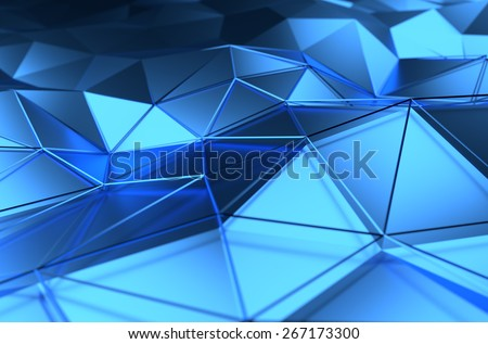 Abstract 3d rendering of blue surface. Background with futuristic lines and low poly shape. - stock photo