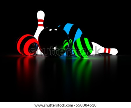 Abstract 3d rendering of bowling pins and balls