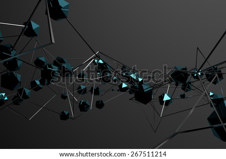 Abstract 3d rendering of chaotic metal structure. Dark background with chrome lines and low poly spheres in empty space. Futuristic steel shape.