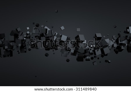 Abstract 3d rendering of chaotic particles. Futuristic cubes in empty space. Sci-fi background. - stock photo