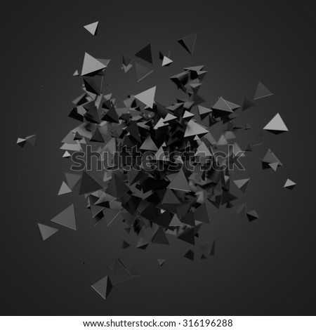 Abstract 3d rendering of chaotic particles. Futuristic pyramids in empty space. Sci-fi background. - stock photo