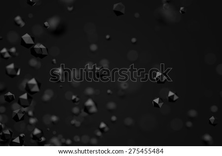 Abstract 3d rendering of chaotic particles. Sci-fi low poly spheres in empty space. Futuristic background. - stock photo