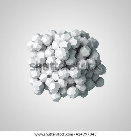 Abstract 3d rendering of chaotic polygon particles.