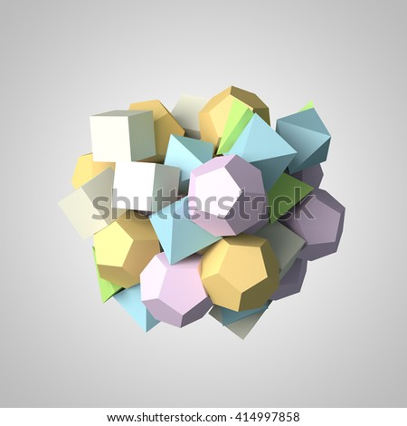 Abstract 3d rendering of chaotic polygon particles. - stock photo