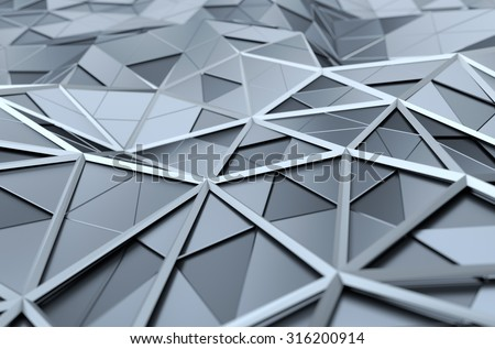 Abstract 3d rendering of chrome surface. Background with futuristic polygonal shape. - stock photo