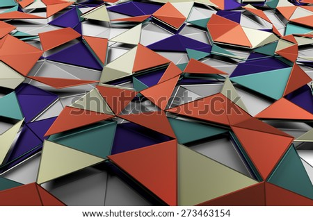 Abstract 3d rendering of low poly colored surface. Background with futuristic shapes. - stock photo