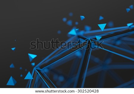 Abstract 3d rendering of low poly structure. Sci-fi background with wireframe and particles in empty space. Futuristic shape. - stock photo