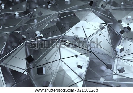 Abstract 3d rendering of surface with random cubes. Background with futuristic lines and low poly shape. - stock photo
