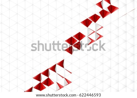 Abstract 3d rendering of white surface. Background with futuristic low poly shape