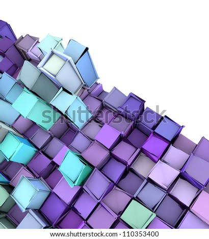 abstract 3d shape backdrop in blue purple - stock photo