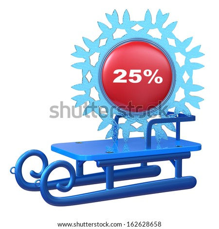 Abstract 3d sledge with discount label isolated on white background. - stock photo