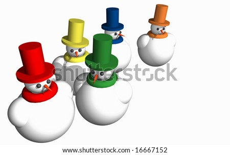 Abstract 3D snowmen isolated over white background