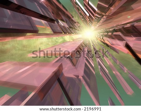 Abstract 3d Space with smoke and sun - stock photo